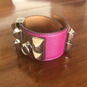 HERMES Collier De Chein Leather Bracelet